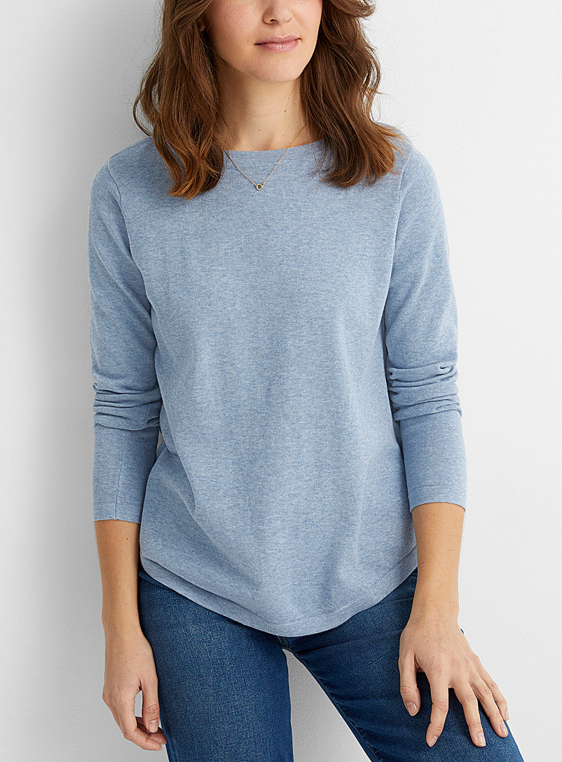 Contemporaine Baby Blue Rounded boat-neck sweater for women