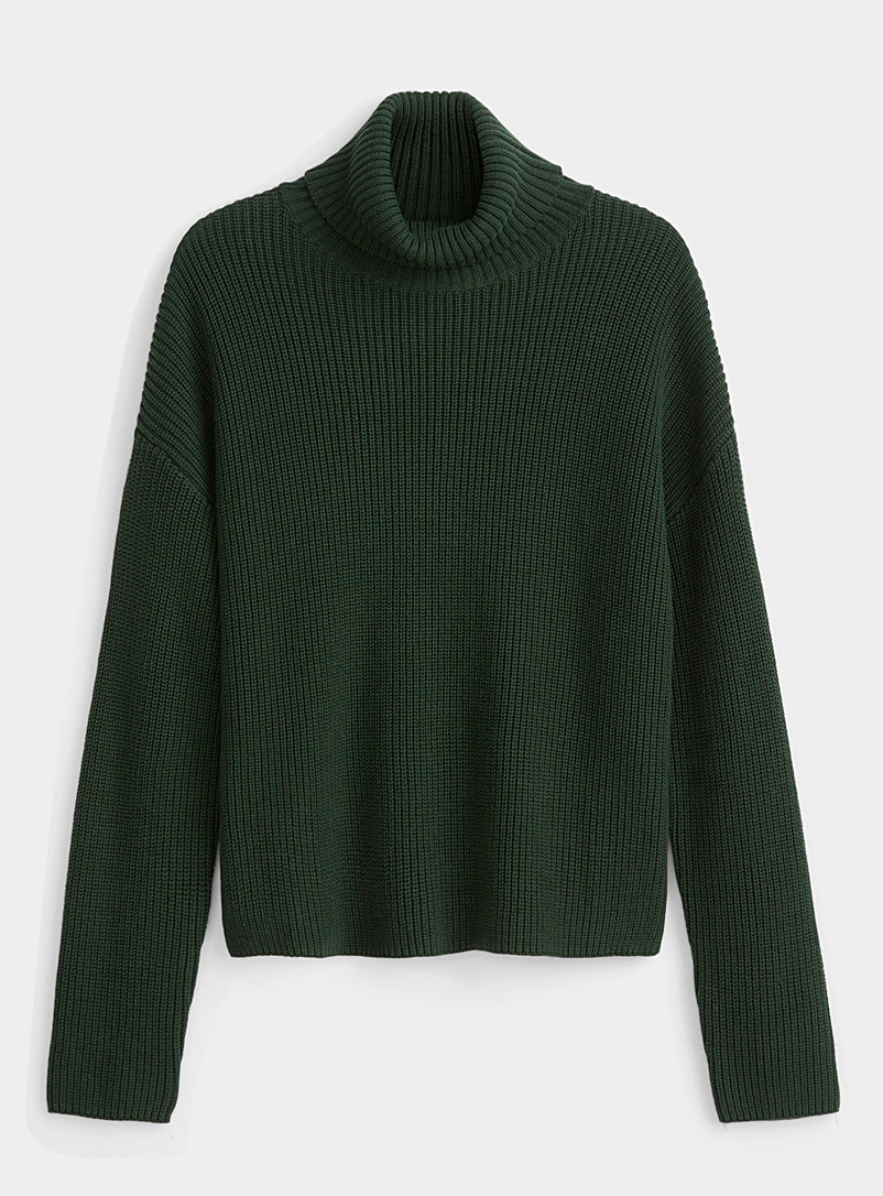 Twik Mossy Green Recycled cotton ribbed turtleneck for women