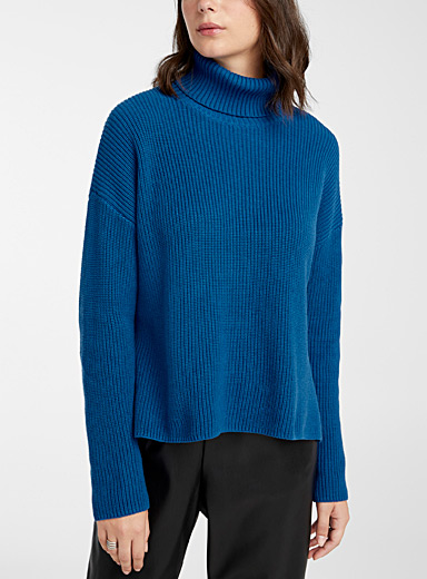 Twik Sapphire Blue Recycled cotton ribbed turtleneck for women