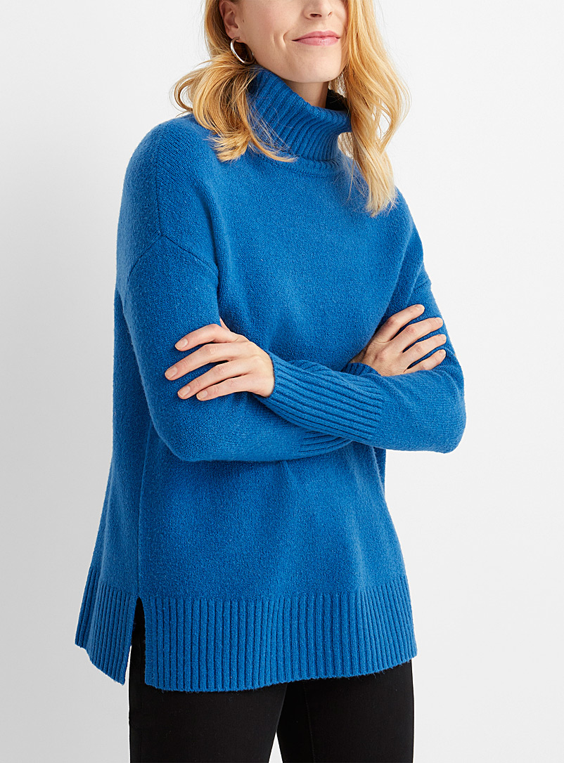 Contemporaine Teal Loose ribbed-trim turtleneck for women