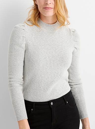 Contemporaine Light Grey Puff-shoulder mock-neck sweater for women
