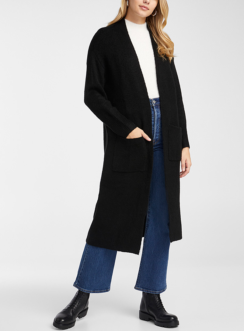 Long patch-pocket open cardigan