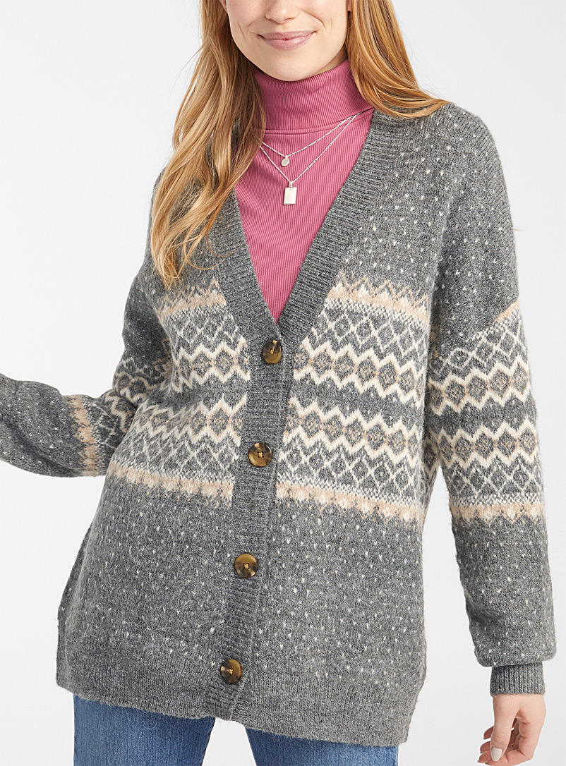 Twik Oxford Loose Nordic jacquard cardigan for women