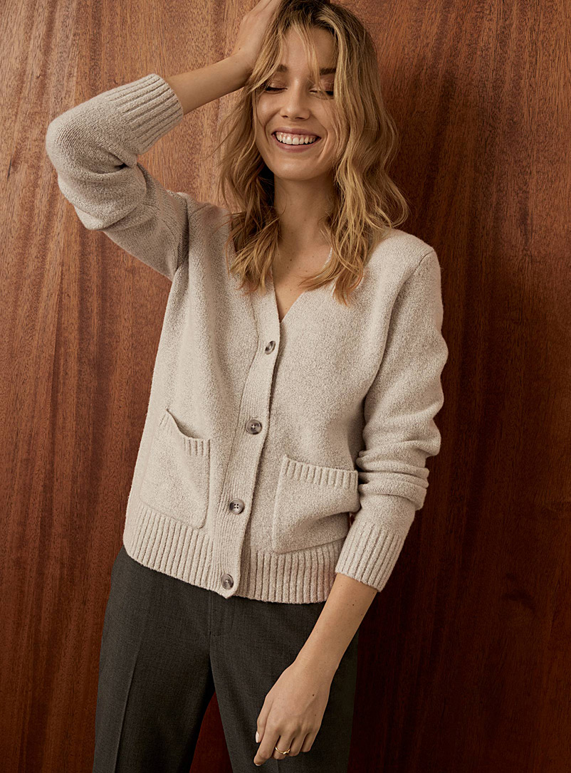 Contemporaine Light Grey Patch-pocket V-neck cardigan for women