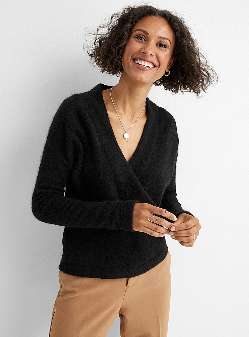 Contemporaine Black Alpaca crossover sweater for women
