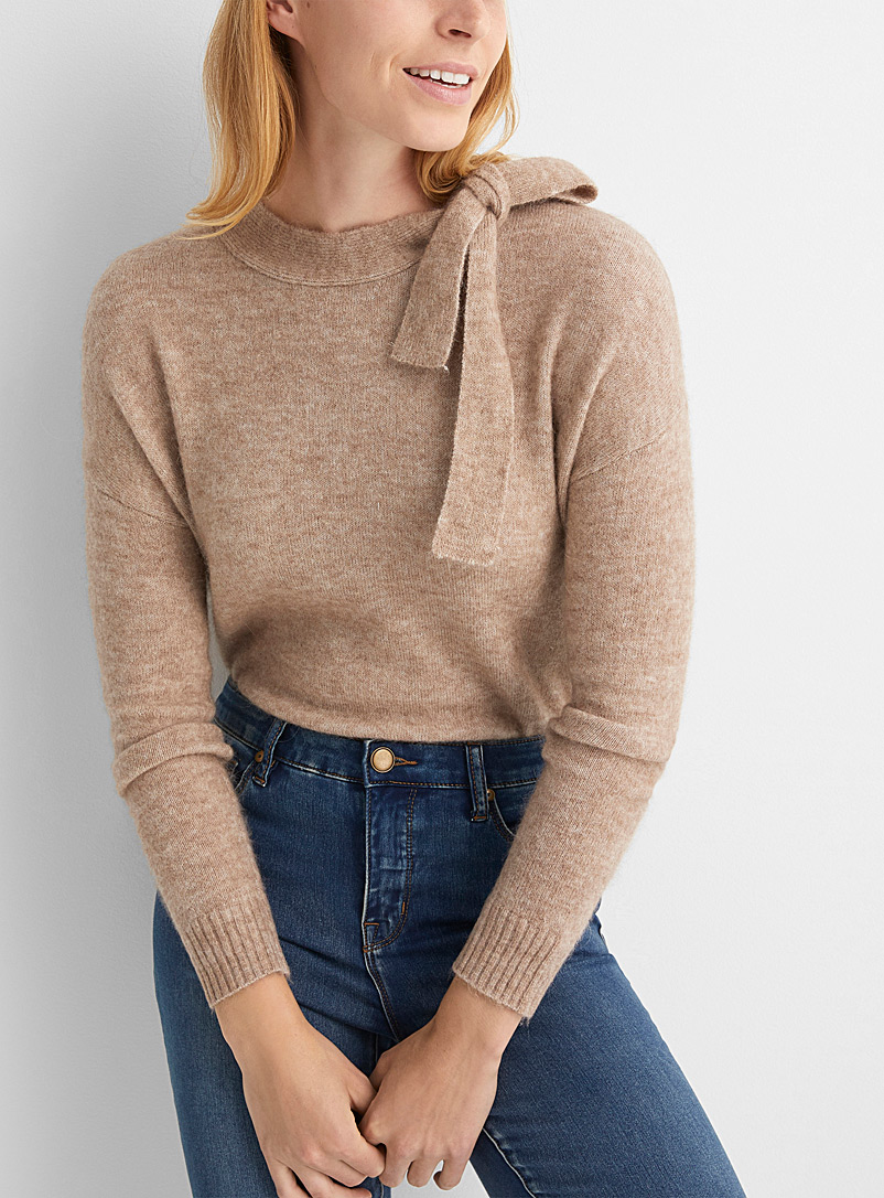 Alpaca bow-neck sweater