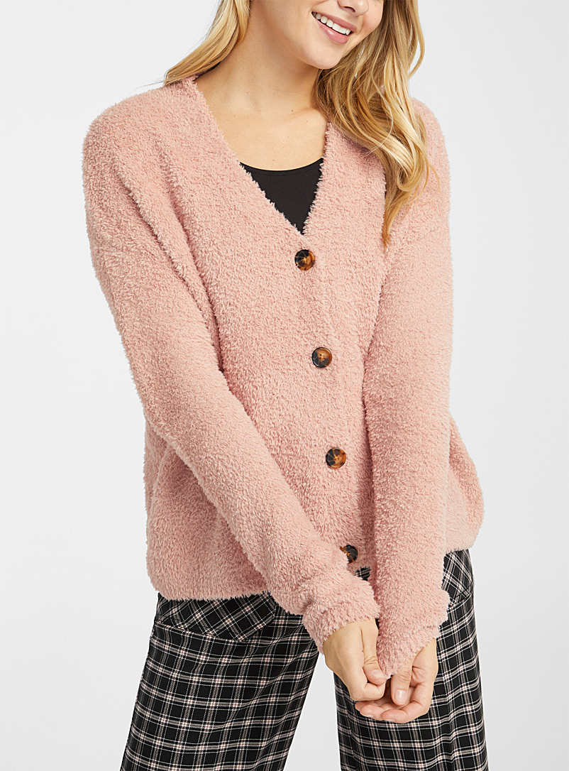 Twik Peach Buttoned chenille cardigan for women
