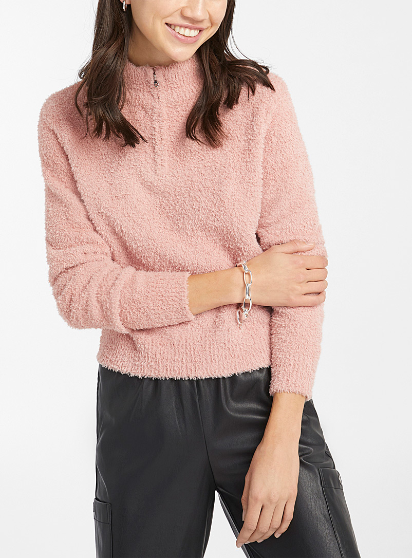 Twik Peach Half-zip collar chenille knit sweater for women