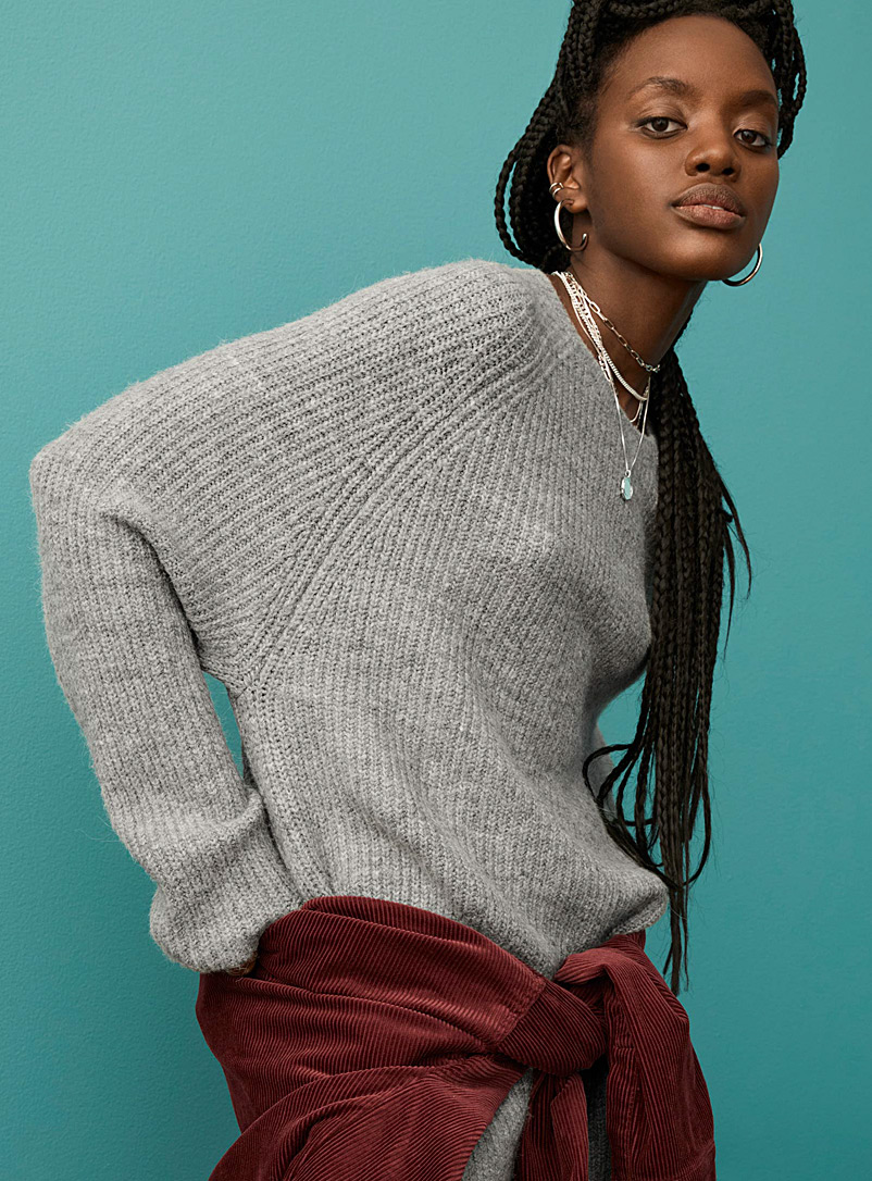 Long loose wool-blend sweater