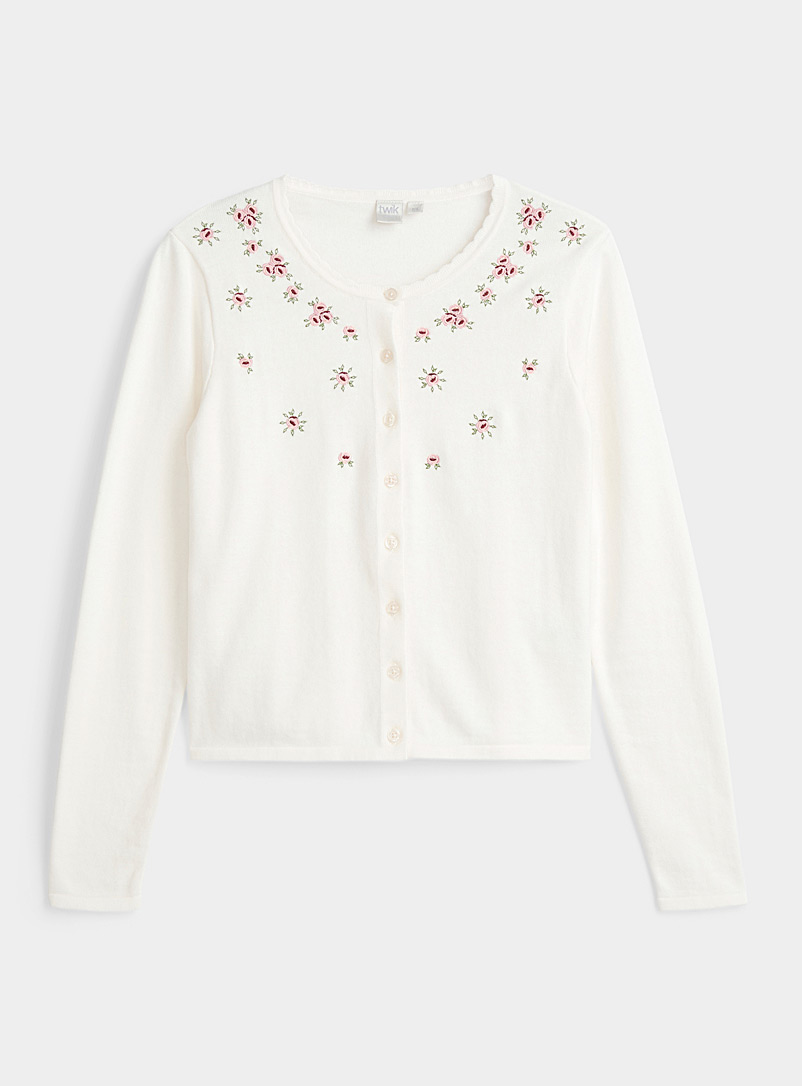 Twik Cream Beige Recycled cotton embroidered roses cardigan for women