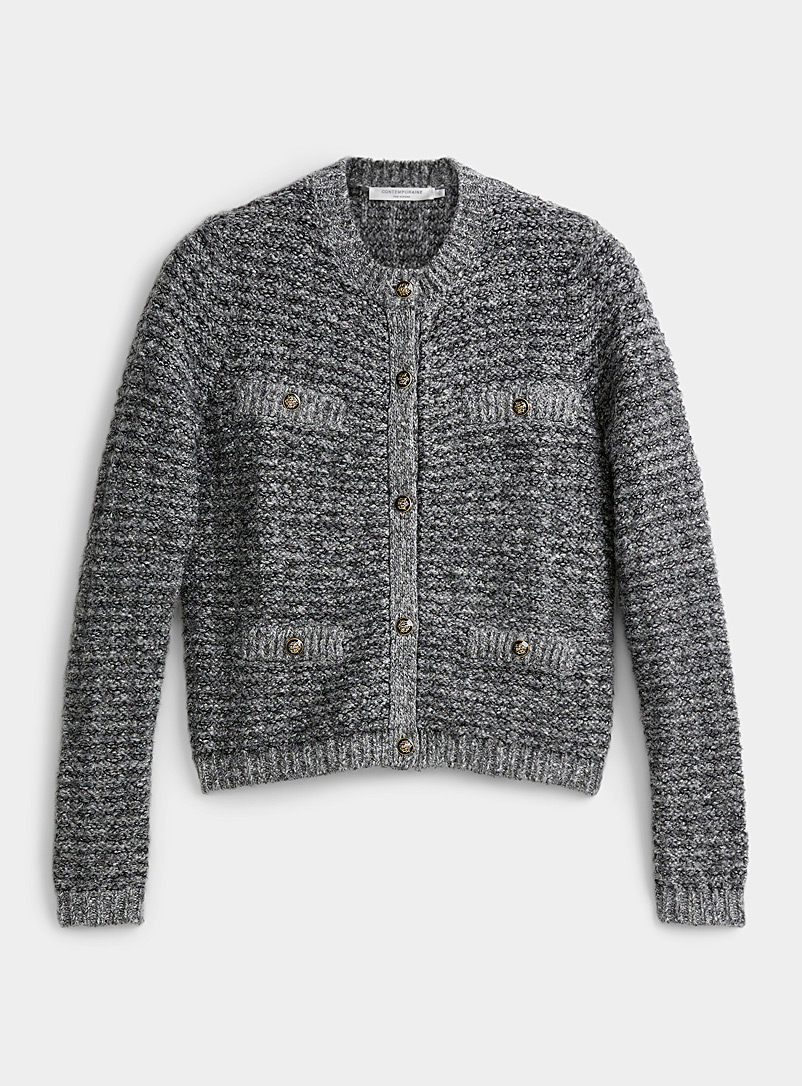 Contemporaine Grey Crest-button cardigan for women