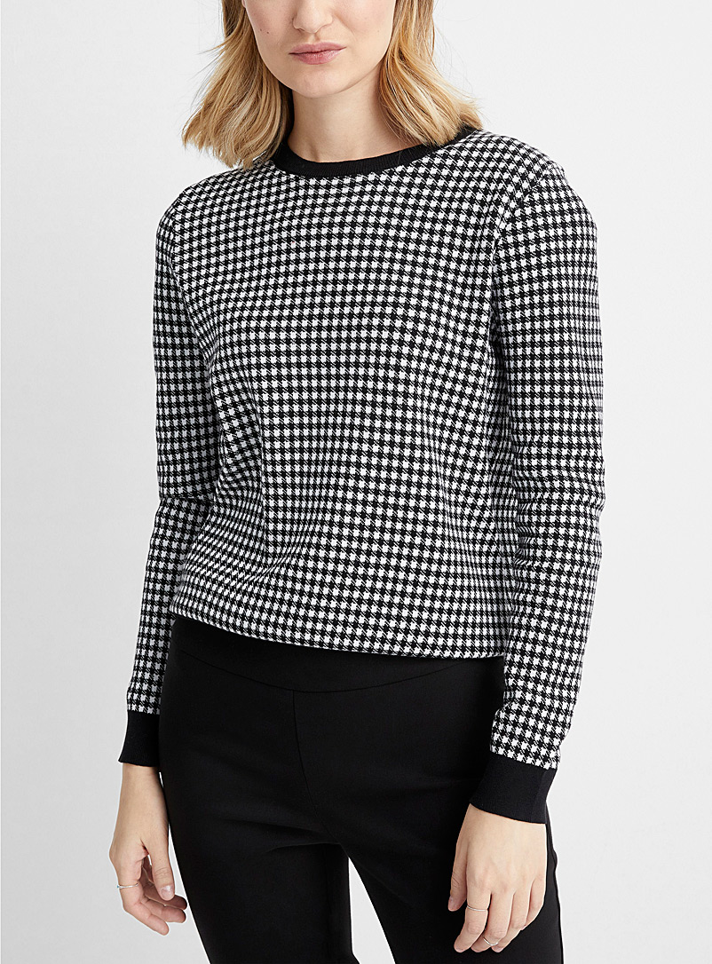 Contemporaine Black Organic cotton gingham sweater for women