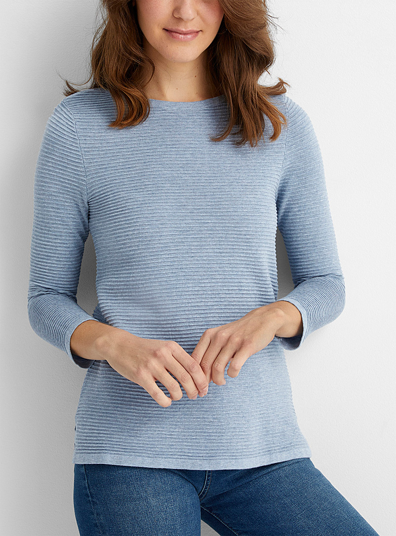 Contemporaine Baby Blue Ottoman knit boat-neck sweater for women