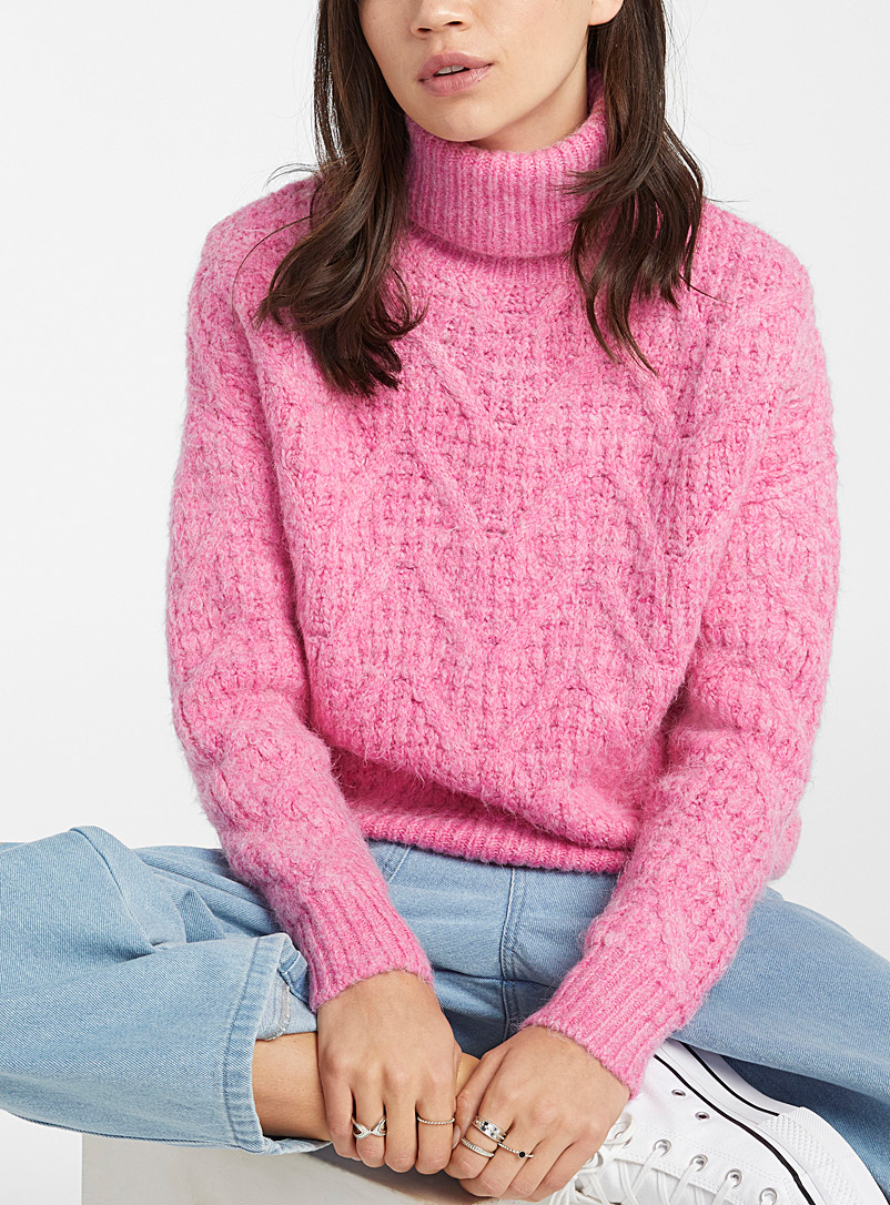 Twik Pink Jacquard arrow turtleneck for women