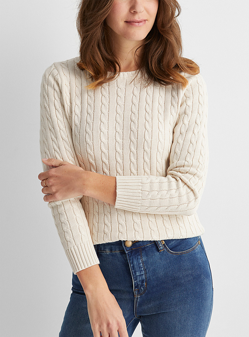 Contemporaine Cream Beige Recycled cotton cable sweater for women