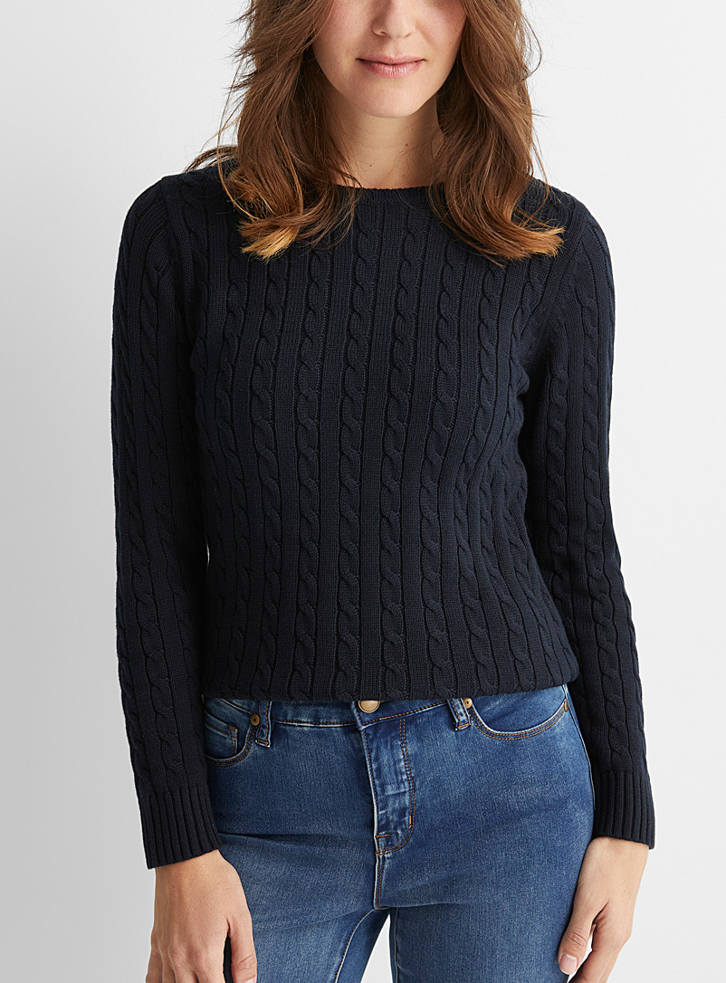 Recycled cotton cable sweater