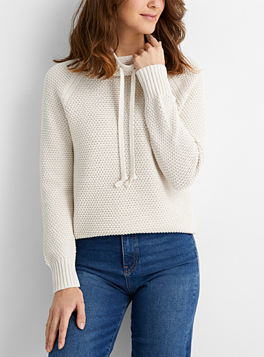 Recycled cotton cord collar textured sweater