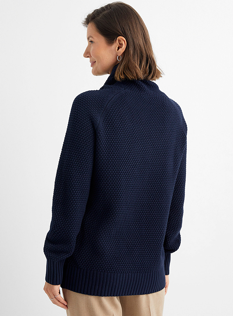 Contemporaine Marine Blue Recycled cotton cord collar textured sweater for women