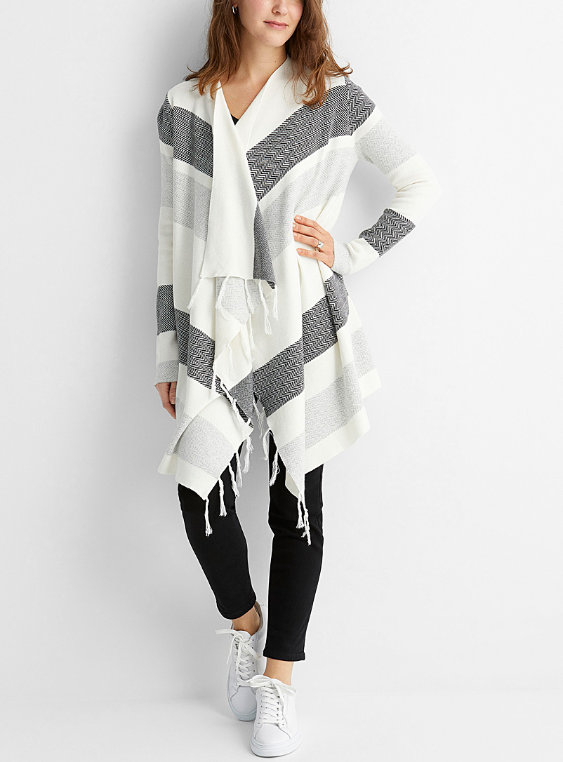 Contemporaine Ivory White Fringed chevron stripe cardigan for women