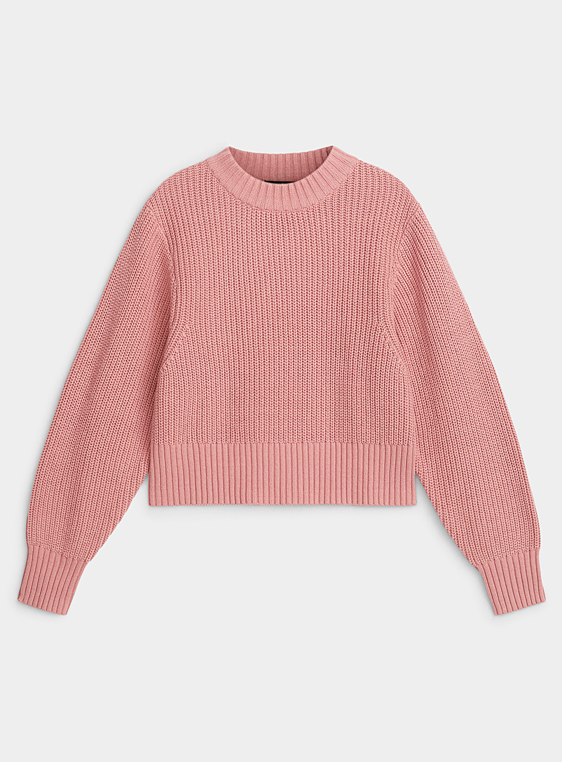 Icône Pink Puff-sleeve cropped sweater for women
