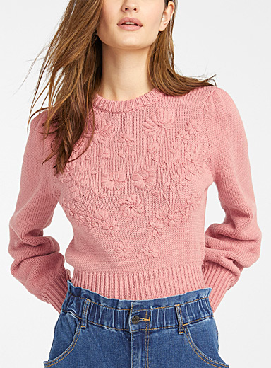Tone-on-tone floral sweater