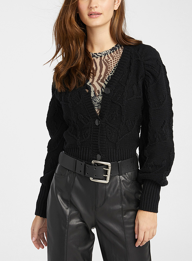 Recycled cotton amplified-sleeve cropped cardigan