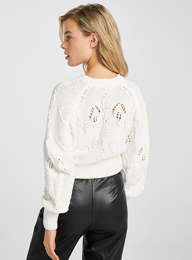 Icône Black Recycled cotton amplified-sleeve cropped cardigan for women