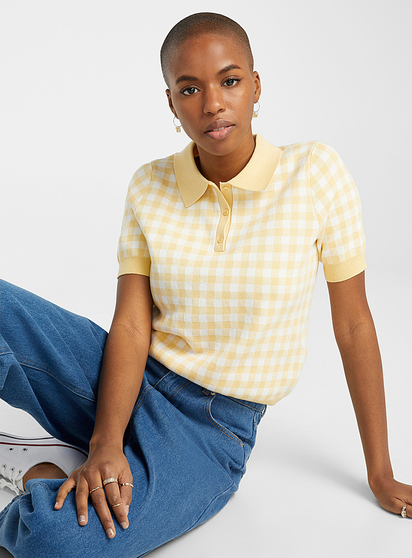 Twik Bright Yellow Recycled cotton gingham polo for women