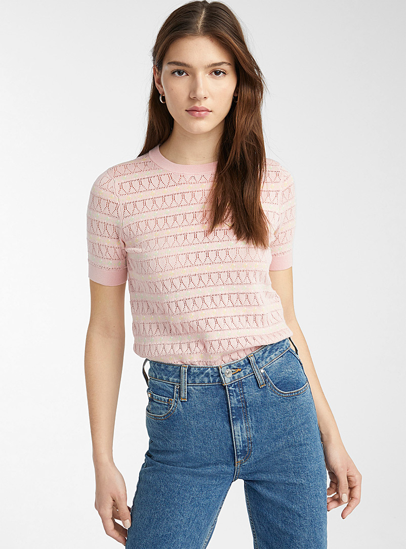 Twik Dusky Pink Floral pointelle sweater for women
