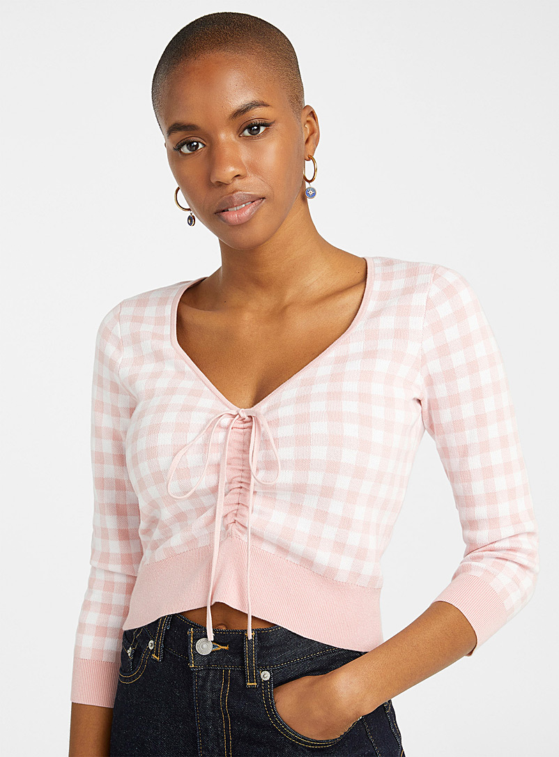 Twik Dusky Pink Gingham gathered sweater for women