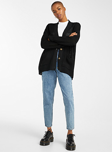 Loose ribbed button-up cardigan