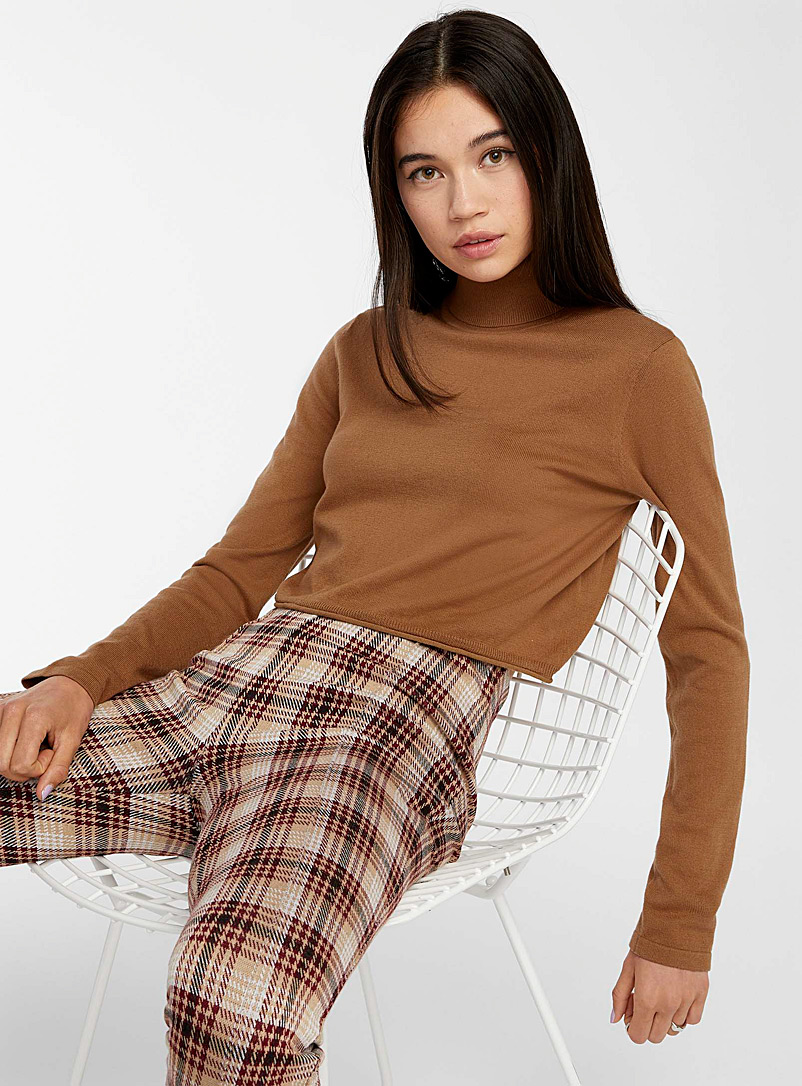 Twik Brown Cropped recycled-cotton turtleneck sweater for women
