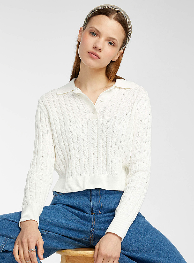 Twik Ivory White Cable-and-rib cropped polo sweater for women