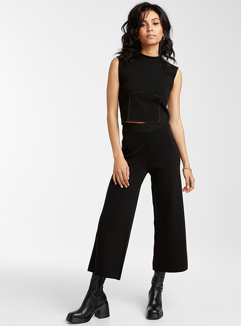 Icône Black Structured knit wide-leg crop pant for women