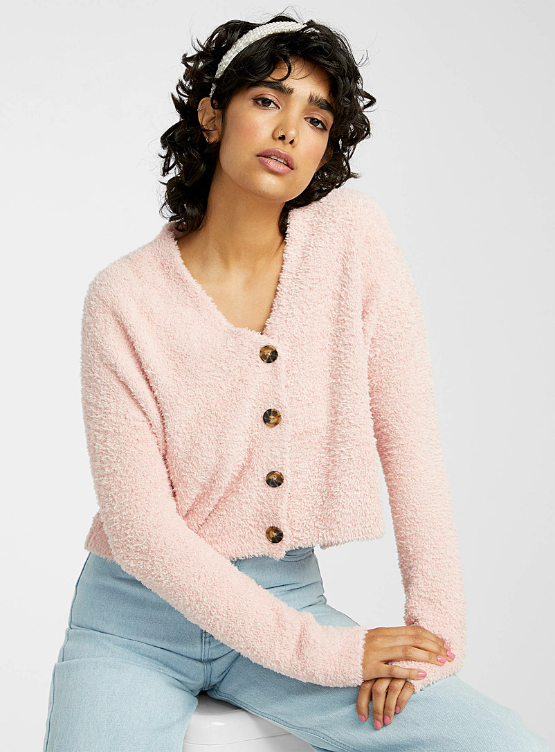 Twik Dusky Pink Buttoned cropped chenille cardigan for women
