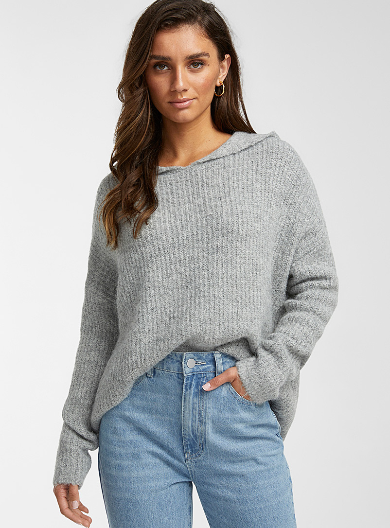 Icône Light Grey Hooded loose sweater for women