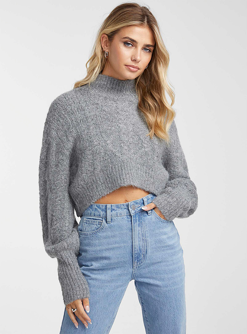 Icône Oxford Twisted-cable cropped mock-neck sweater for women