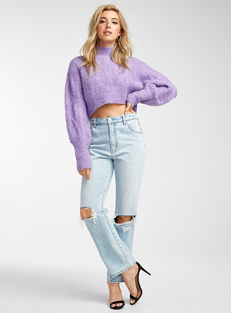 Icône Lilacs Twisted-cable cropped mock neck for women