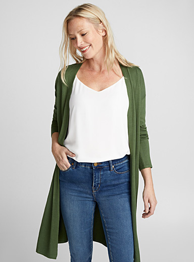 Long fluid open cardigan