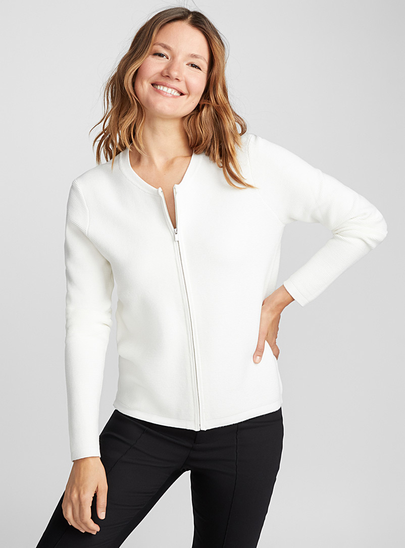 Ottoman knit zip cardigan - Cardigans - Ivory White