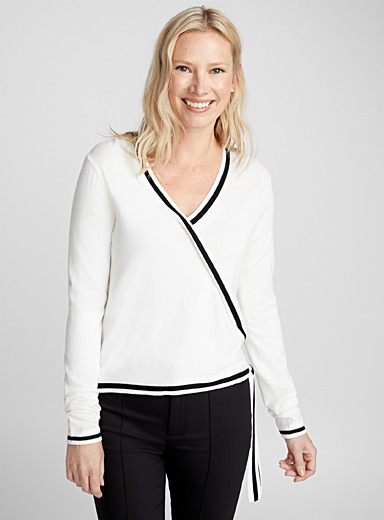 Contrast-trim wrap-front sweater