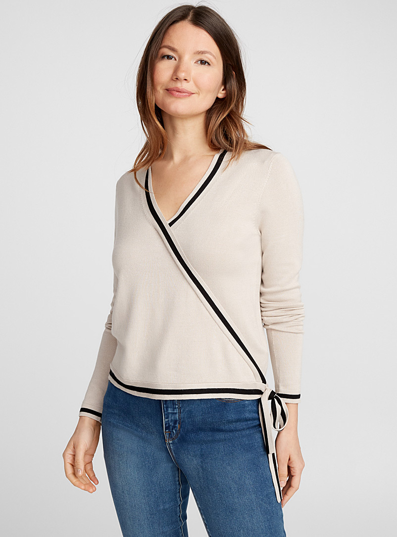 Contrast-trim wrap-front sweater - Sweaters - Sand