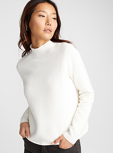 Textured knit high-neck sweater