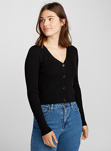 Finely-ribbed cropped cardigan