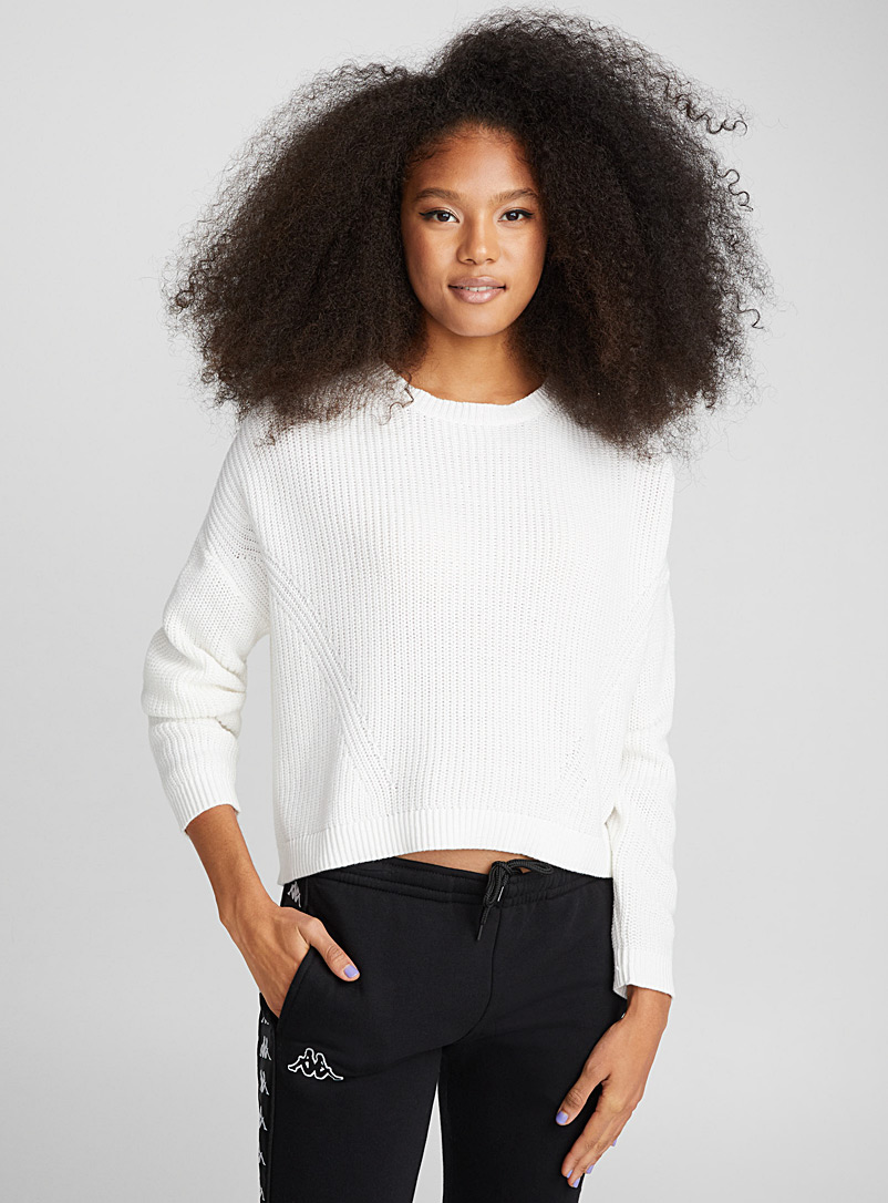 Cropped drop-sleeve sweater - Sweaters - Ivory White