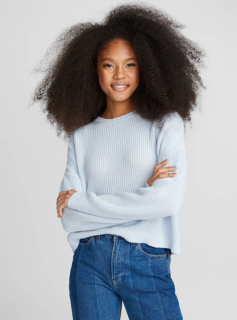 Cropped drop-sleeve sweater - Sweaters - Baby Blue
