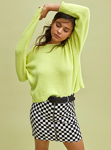 Cropped drop-sleeve sweater