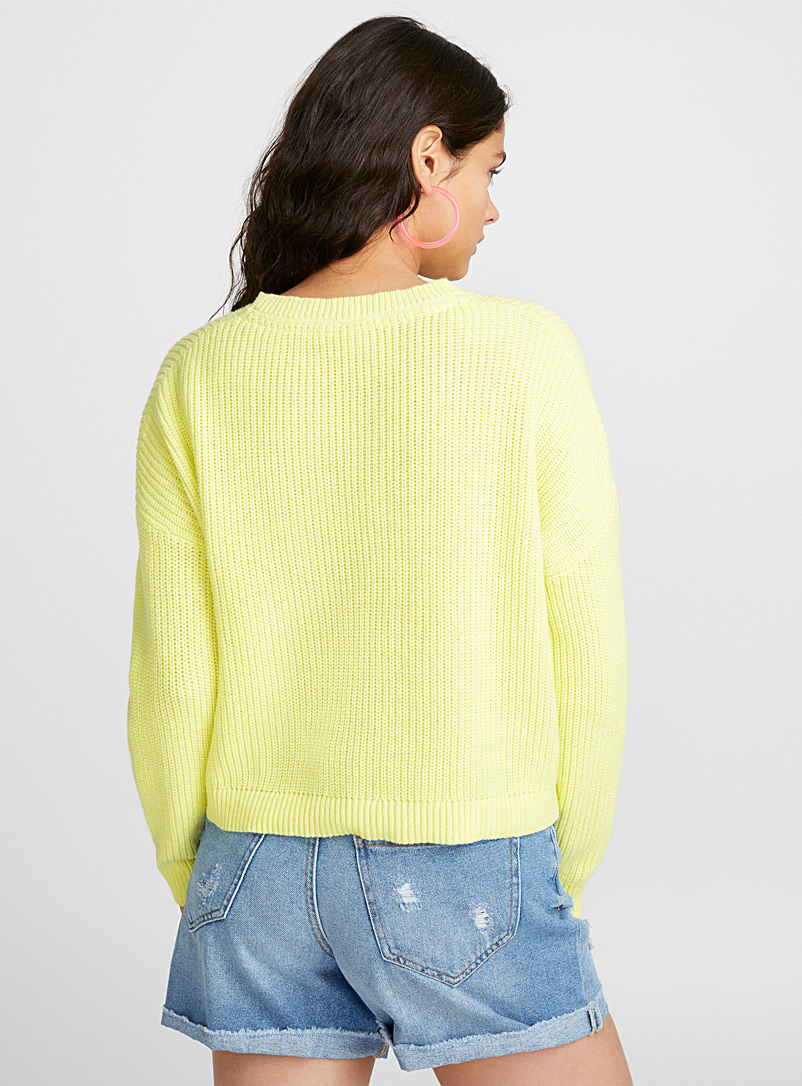 Cropped drop-sleeve sweater - Sweaters - Medium Yellow