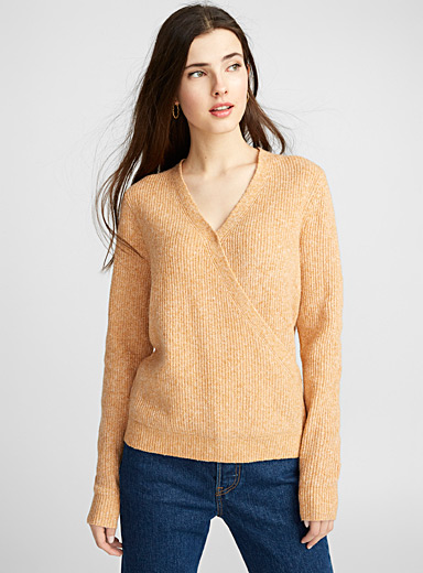 Ribbed crossover sweater