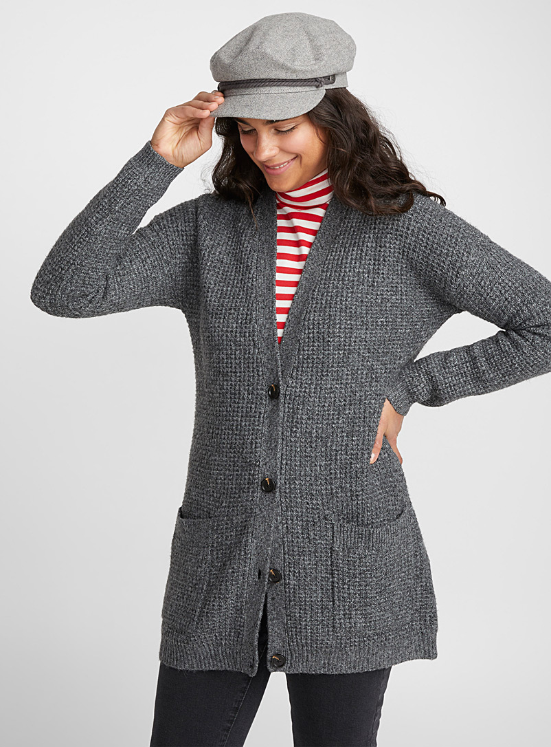 Buttoned waffle cardigan - Cardigans - Charcoal